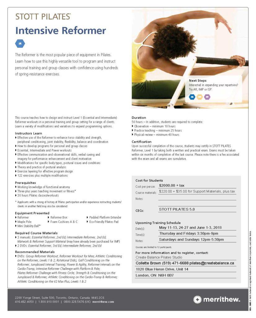 Certification Create Balance Pilates